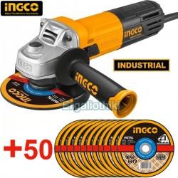 INGCO AG8508 Γωνιακός τροχός Φ115mm + 50 δίσκοι κοπής μετάλλων