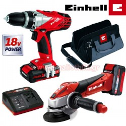EINHELL TE-TK 18 Li Kit4 Σετ δραπανοκατσάβιδο + τροχός γωνιακός 18V (304431110)
