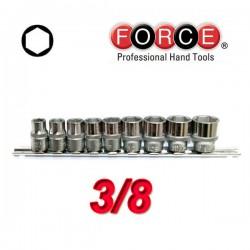FORCE TOOLS 3093 Σειρά καρυδάκια εξάγωνα 3/8.