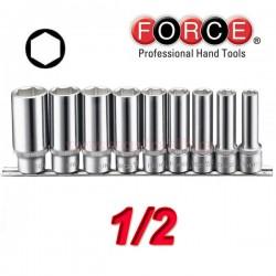 FORCE TOOLS 40911 Σειρά μακριά καρυδάκια εξάγωνα 1/2.