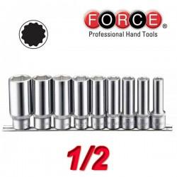 FORCE TOOLS 40911-9 Σειρά μακριά καρυδάκια πολύγωνα 1/2