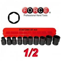 FORCE TOOLS 4109 Σειρά καρυδάκια εξάγωνα αέρος 1/2''