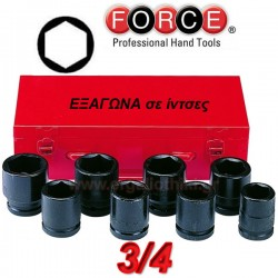 FORCΕ TOOLS 6081S Σειρά καρυδάκια εξάγωνα αέρος 3/4""