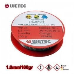 WETEC Κόλληση καλάϊ Sn60Pb40 1.0mm 100gr
