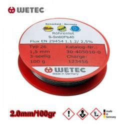 WETEC Κόλληση καλάϊ Sn60Pb40 2.0mm 100gr