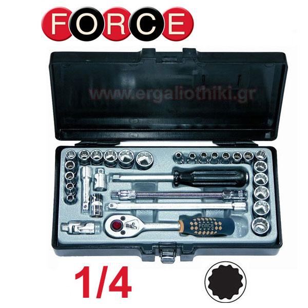FORCE TOOLS 2312 Σειρά καρυδάκια 1/4 χιλιοστά και ίντσες