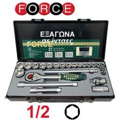 FORCE TOOLS 4246 S-5 Σειρά καρυδάκια Εξάγωνα 1/2 ίντσες