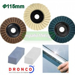 DRONCO 6900040 Σετ γυαλίσματος για ανοξείδωτες επιφάνειες 115mm
