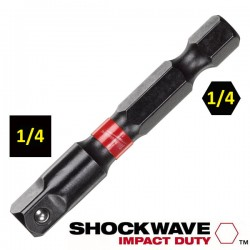 "MILWAUKEE 48325030 Αντάπτορας βιδολόγου για καρυδάκια 1/4"" SHOCKWAVE Impact Duty"