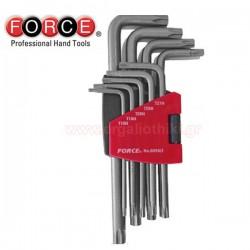 FORCE TOOLS 5098LT Σειρά κλειδιά torx Extra Long με τρύπα
