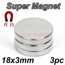 SUPER MAGNET 18 X 3mm μαγνήτες  (3 τεμάχια)