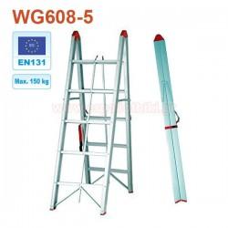 WG608-5 Σκάλα αλουμινίου πτυσσόμενη 5+5 σκαλιά