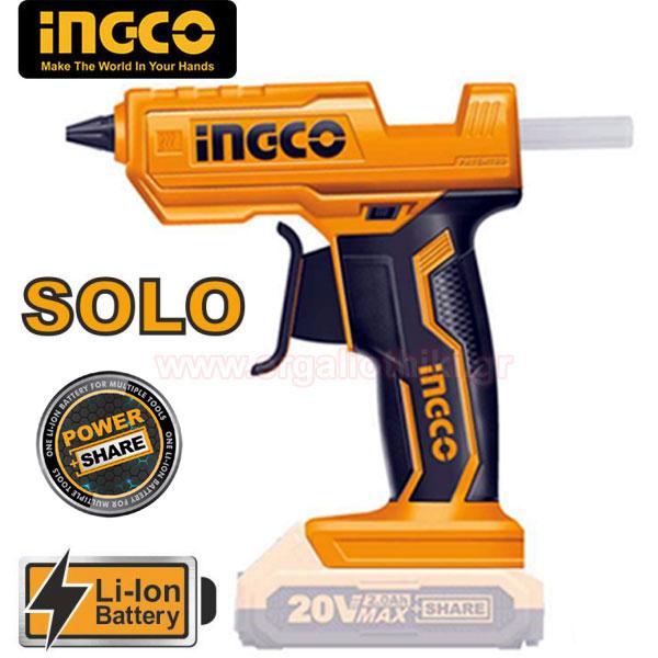 INGCO CGGLI2001 Πιστόλι θερμοκόλλας μπαταρίας 20V Li-Ion SOLO (χωρίς μπαταρία και φορτιστή)