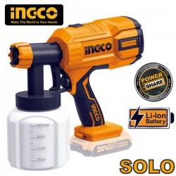 INGCO CSGLI2001 Πιστόλι βαφής μπαταρίας 20V Li-Ion SOLO (χωρίς μπαταρία και φορτιστή)