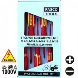 PASCO TOOLS 022506  Σειρά κατσαβίδια ηλεκτρολόγων με μόνωση 1000V (6 τεμάχια)