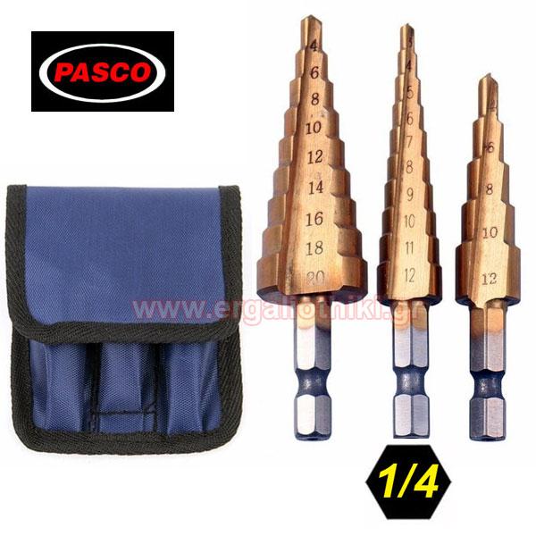 PASCO TOOLS 004968 Κλιμακωτές φρέζες - Step drill σετ 3 τεμαχίων