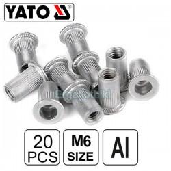 YATO YT-36454 Πριτσινοπαξιμάδια αλουμινίου M6 20τεμ.