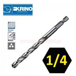 "KRINO 01079  Τρυπάνι μετάλλων με υποδοχή εξάγωνη 1/4"" (επιλέγετε μέγεθος)"