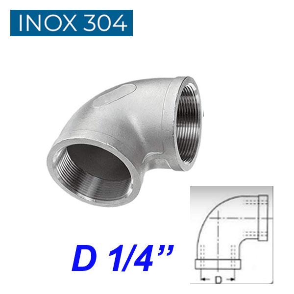 """INOX 304 Γωνία 90ο θηλυκή  1/4"""""""
