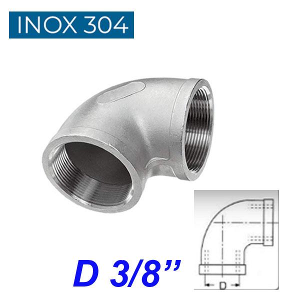 """INOX 304 Γωνία 90ο θηλυκή 3/8"""""""