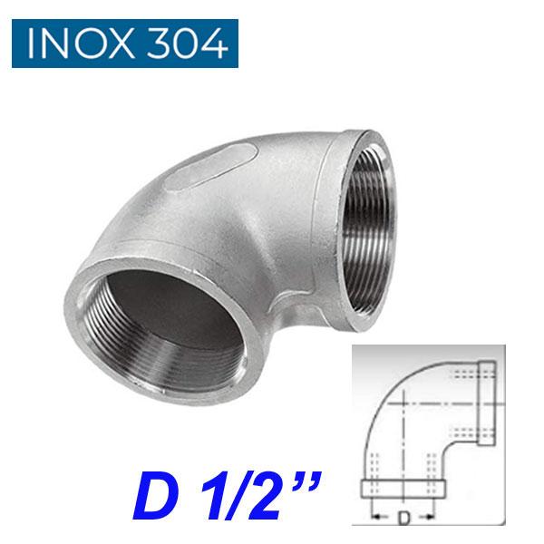 """INOX 304 Γωνία 90ο θηλυκή  1/2"""""""