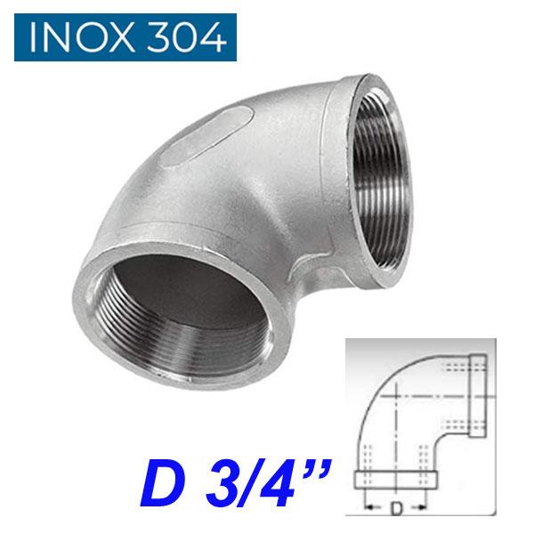"""INOX 304 Γωνία 90ο θηλυκή 3/4"""""""
