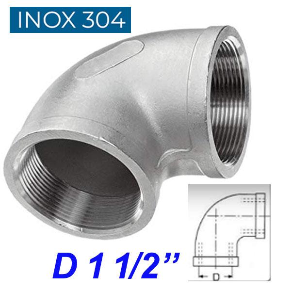 """INOX 304 Γωνία 90ο θηλυκή 1 1/2"""""""