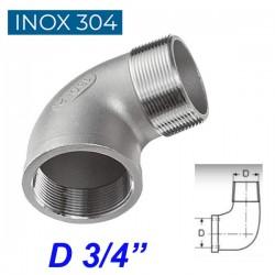 """INOX 304 Γωνία 90ο αρσενική - θηλυκή 3/4"""""""
