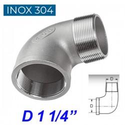 """INOX 304 Γωνία 90ο αρσενική -θηλυκή 1 1/4"""""""