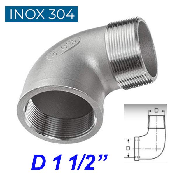 """INOX 304 Γωνία 90ο αρσενική -θηλυκή 1 1/2"""""""