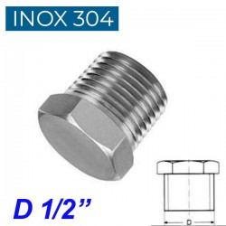 "INOX 304 Τάπα αρσενική 1/2"""
