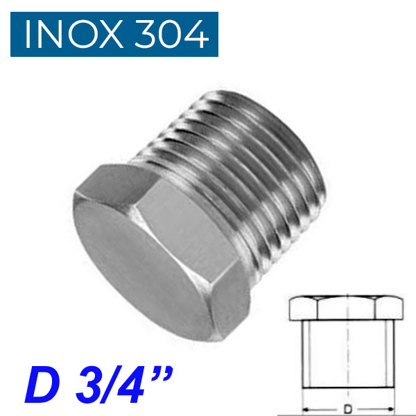 "INOX 304 Τάπα αρσενική 3/4"""