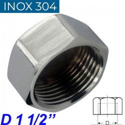 "INOX 304 Τάπα θηλυκή 1 1/2"""