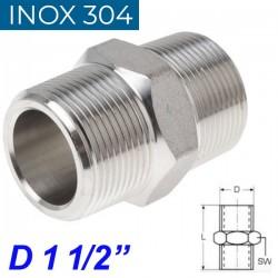 "INOX 304 Νίπελ 1 1/2"""