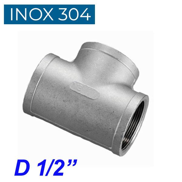 """INOX 304 Ταυ θηλυκό 1/2"""""""