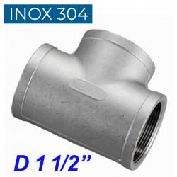 """INOX 304 Ταυ θηλυκό 1 1/2"""""""