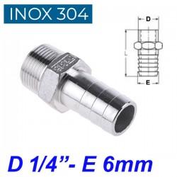 "INOX 304 Ακροσωλήνιο 1/4"""