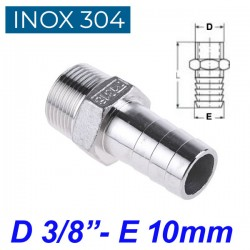 "INOX 304 Ακροσωλήνιο 3/8"""