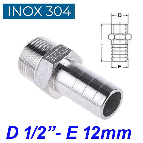 "INOX 304 Ακροσωλήνιο 1/2"""