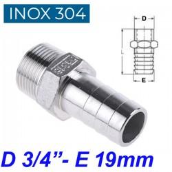 "INOX 304 Ακροσωλήνιο 3/4"""