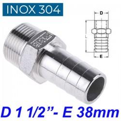 "INOX 304 Ακροσωλήνιο 1 1/2"""