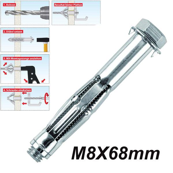 TOX ACROBAT M8x68mm Μεταλλικό βύσμα γυψοσανίδας αρθρωτά με βίδα (εξάγωνο κεφάλι)
