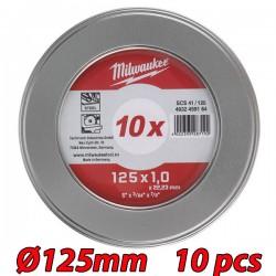 MILWAUKEE 4932459164 Δίσκος κοπής μετάλλων Ø 125x1mm (10 τεμάχια)