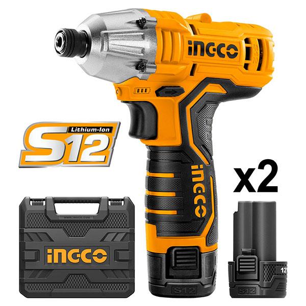 INGCO CIRLI1201 Παλμικό κατσαβίδι 12V με 2 μπαταρίες 1.5Ah