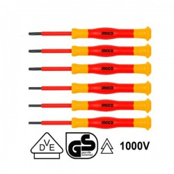 INGCO HKIPSD0601  Σειρά κατσαβίδια ακριβείας ηλεκτρολόγων 1000V VDE