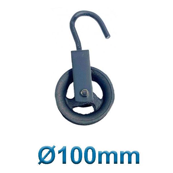 PASCO TOOLS 070010 Μακαράς - τροχαλία χυτοσίδηρα με γάντζο Ø 100mm