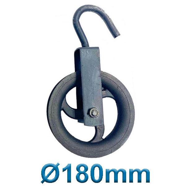PASCO TOOLS 070018 Μακαράς - τροχαλία χυτοσίδηρα με γάντζο Ø 180mm