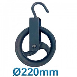 PASCO TOOLS 070022 Μακαράς - τροχαλία χυτοσίδηρα με γάντζο Ø 220mm