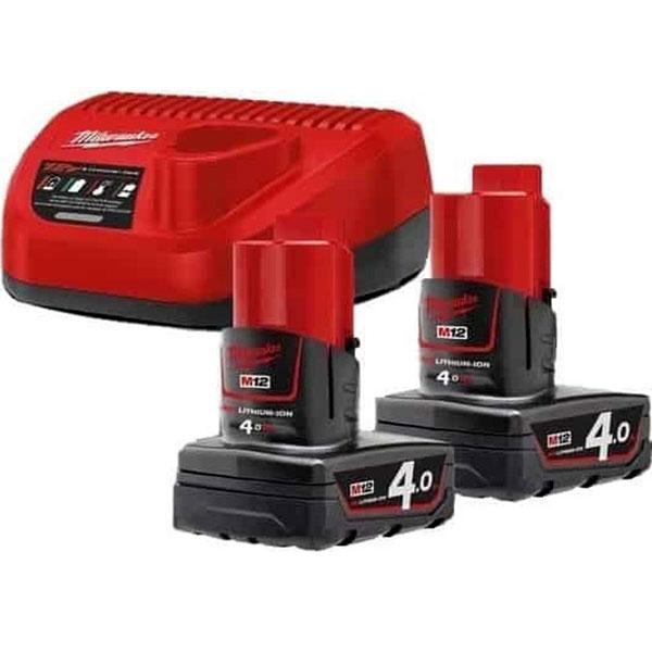 MILWAUKEE 4933459211 Σετ 2 μπαταρίες + φορτιστής M12 NRC-402