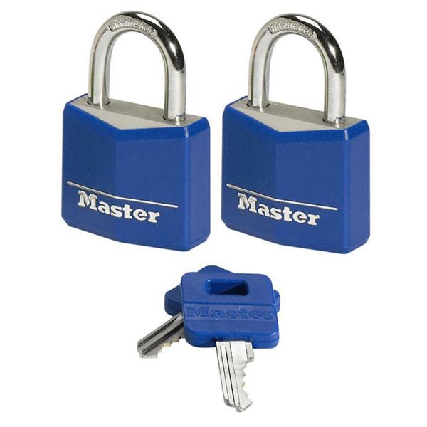 MASTERLOCK Λουκέτα μπλέ 2 τεμάχια ίδιο κλειδί Νο20 (E9121003)
